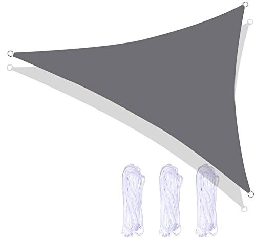 ququer Toldo de vela para pérgola, impermeable, resistente a los rayos UV, toldo de gasa, pérgola, pérgola, patio, interior al aire libre, triángulo de interior, 98% UV, kit de gancho
