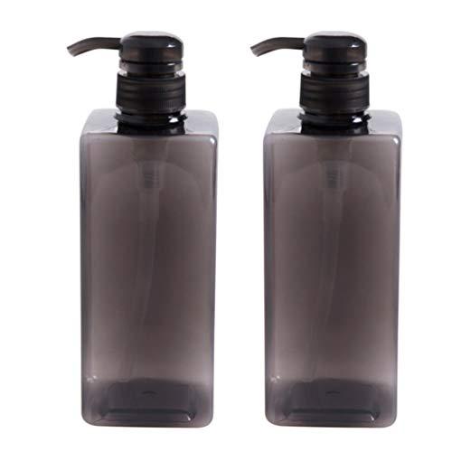 TOPBATHY 2 Pcs 600 Ml Gel Douche Bouteilles Conteneurs En Plastique Vide Savon Pompe Bouteilles Rechargeable Shampooing Conteneur Bouteille Liquide (Noir)
