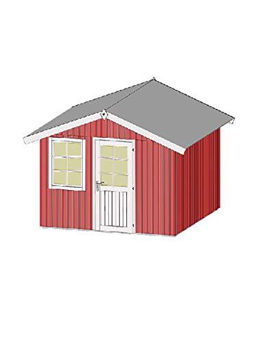 *Weka Schwedenhaus Gr. 2 Tür und Fenster 300 x 300 cm, schwedenrot*