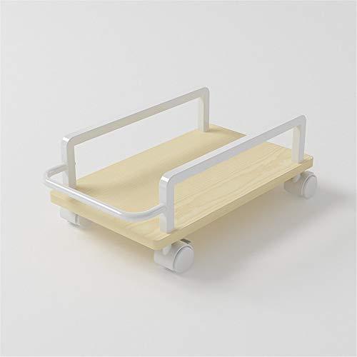 Guoyajf Computerwagen - Mobilwagen CPU-Ständer Stahl Rollständer Wagenhalter Feststellräder Für Den Schreibtisch Zu Hause,Weiß