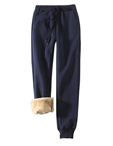 Yeokou Women's Warm Sherpa Lined Athletic Sweatpants Jogger Fleece Pants (Large, Navy Blue)