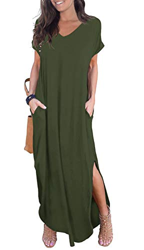 GRECERELLE Womens Casual V Neck Side Split Beach Dresses Long Maxi Dress Army Green Large