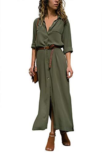 Eledobby Vestido de Camisa para Mujer con Botones Manga Larga para Mujer Vestidos Largos Sexy con Cuello en V Pierna Dividida Ropa Informal para El Trabajo Nocturno Playa Color Sólido Verde Militar L