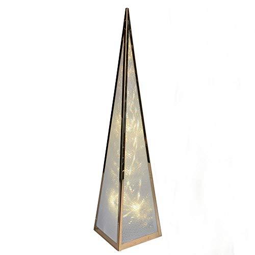 Formano beleuchtbare Deko-Pyramide mit 12 LEDs, 45 cm, mit Drehmotor und Adapter, 1 Stück, aus Metall Gold