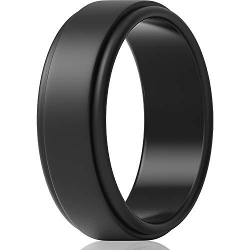 ThunderFit Silicone Wedding Ring for Men - 1 Ring (Black, 12.5 - 13 (22.2mm))