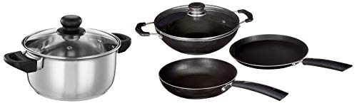 Amazon Brand - Solimo 3-Piece Non-Stick Cookware Set (without Induction Base)