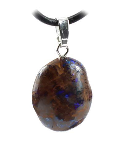 budawi® - Boulderopal Trommelstein Anhänger 925er Silberöse mit Lederband, Opal im Muttergestein
