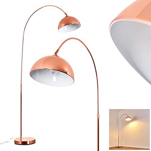 Stehlampe Tipitapa, moderne Stehleuchte aus Metall in Kupfer/Weiß, höhenverstellbare Bogenlampe mit Fußschalter am Kabel, E27-Fassung, max. 40 Watt