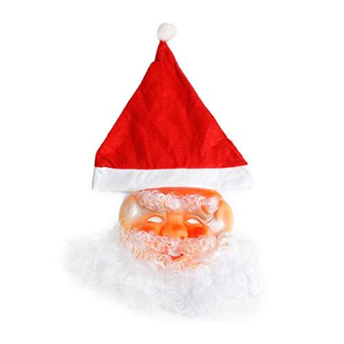 BESTOYARD Weihnachtsmann Maske mit Bart und Mütze Unisex Weihnachten Santa Claus Kostüm Nikolausmaske