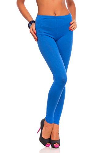 FUTURO FASHION - Damen Leggings aus Baumwolle - knöchellang - weich - Übergrößen - Royalblau - 40 Klassische Bundhöhe