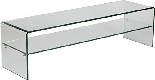 Destock Meubles Banc TV verre courbé 1 rayon L80