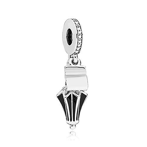 Pandora 925 Charm Argento Perline Charm Ciondola Per Donna Smalto Nero Cartoon Mary Poppins Ombrello Pendente Fit Bracciale Originale Donna Anime Per Creazione Di Gioielli Fai Da Te
