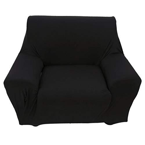 Funda para sofá, 1 plaza Funda para sofá de color sólido Funda para sofá Funda elástica antideslizante para sofá(Negro)
