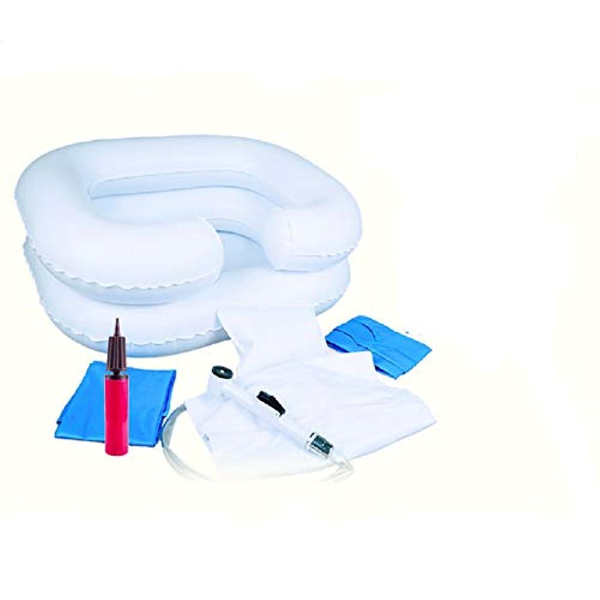 リング太字ジョージスティーブンソン洗髪槽 寝たままシャンプー台 空気式 シャワー付 6点セット 介護用品 高齢