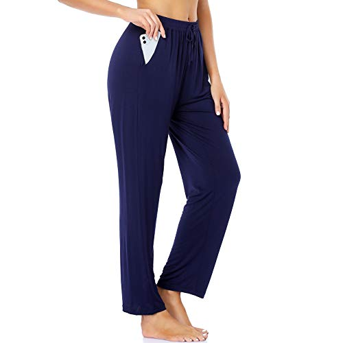 ROCHVIE Womens Yoga Workout Pants Loose Sweatpants for Women Jogging Pants with Pocket Knit Lounge Exercise Pants Pajamas Pants Dark Blue S