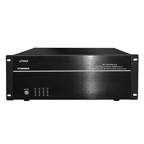 4 Multi-Zone Stereo Amplifier - 19 Rack Mount, Powerful 8000 Watts with Speaker Selector Volume Control & LED Audio Level Display - 4-Ch. Bridgeable Switches - Pyle PT8000CH