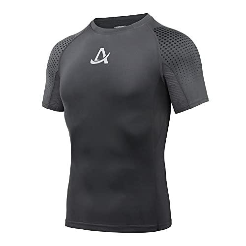 AMZSPORT Maglie Compressione Uomo Maglietta Palestra a Manica Corta T-Shirt Ciclismo Running, Grigio, L