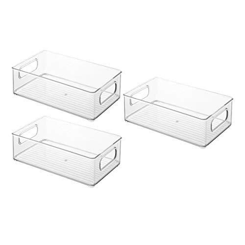 Haude - Set di 3 armadi da cucina in plastica, contenitori per alimenti per frigoriferi o congelatore, organizer per frutta, collage, 10 pollici di lunghezza