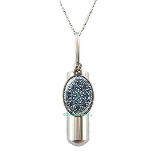 glasso0gemo0jewelry Collar de urna de cremación con símbolo de OM, diseño de mandala de la India, color negro, collar de urna de cremación con imagen Zen de cristal, collar para mujer, Q0219