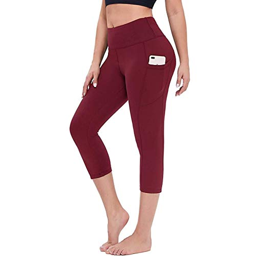 High Waist Yoga Pants with Pockets, Tummy Control Workout 4 Way Stretch Yoga Capris Leggings