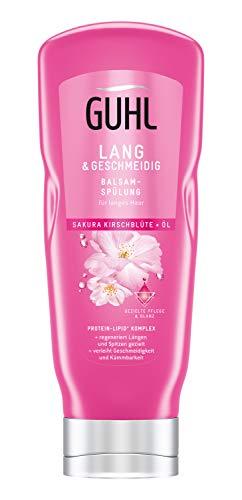 Guhl Lang und Geschmeidig Balsam Spülung/Conditioner - mit Sakura-Kirschblüte und Öl - regeneriert Längen und Spitzen, 200 ml