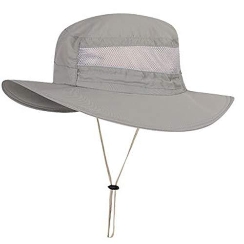 Boboder Sombrero de Sol de ala Ancha al Aire Libre Sombrero de Pesca con Protección UV Sombrero de Boonie Impermeable y Transpirable para Hombres y Mujeres (Gris Claro)
