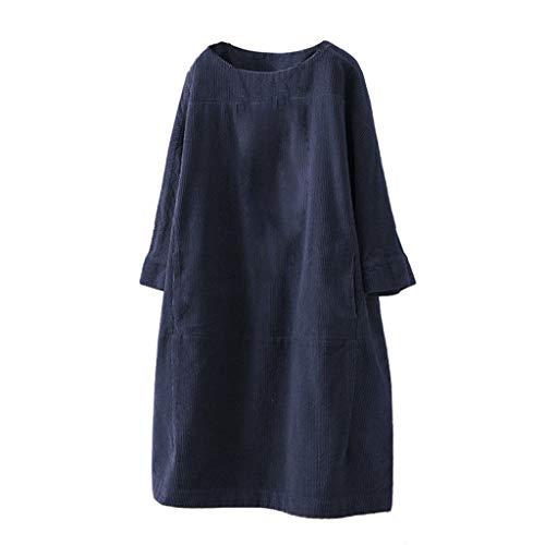 Damen Corduroy Kleider Herbst Winter Vintage Lang Cordkleid Langarm Lose Casual Rundhals Tunika Kleid Lässig Oversize Pullover Warme Strickkleider...