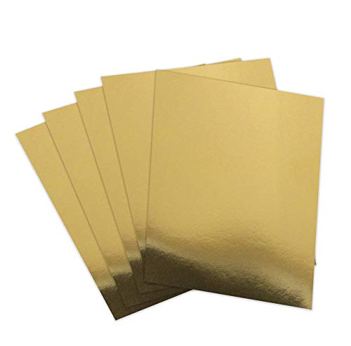Gold Foil Mirror Card Stock Reflective Mirrored cardstock Gold Shimmer Heavy Weight Paper Board 8.5 x 11 Heavy Weight 300 GSM Card Stock