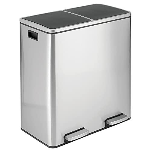 mDesign Papelera de Reciclaje de Acero con Pedal – Contenedor para Reciclar con Dos Cubos de Basura extraíbles – Cubos para Reciclar de 60 litros para Cocina, baño y Oficina – Plateado Mate