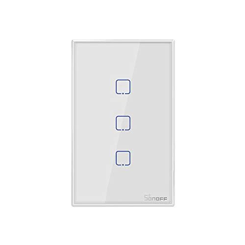 Sonoff TX0 Interruptor Inteligente Wifi, 3 Botões, Touch Screen, TX-T0US3C, Funciona com Alexa