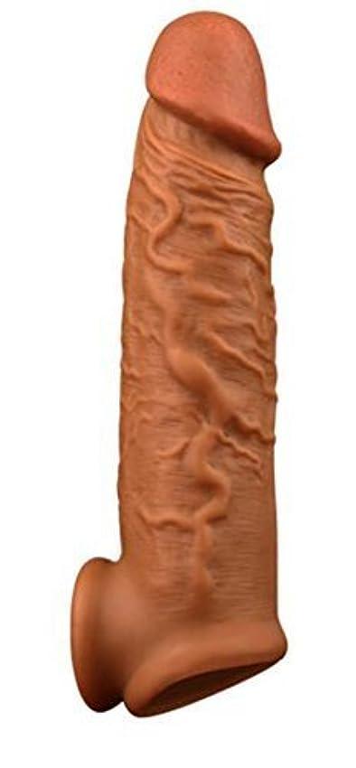 雄大なスラッシュ粘り強いペニスサック 拡大用 コンドーム サック リアル陰茎 陰茎袖 ペニスリング付き 液体シリコン製