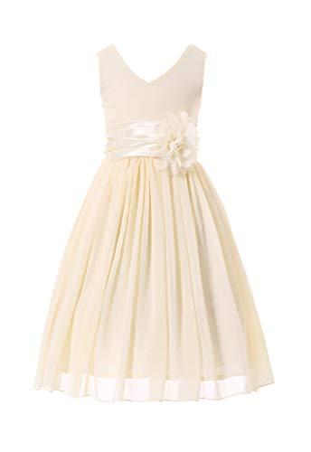 HAPPY ROSE Vestido de Dama de Honor para Niña Vestidos de Fiesta de Graduación Leche Blanca 14 años