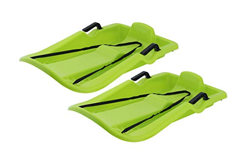 """Superio Downhill Snow Sled with Brake Handles for Kids and Adults, 35"""" Long, with Pull Rope, Green. (2)"""