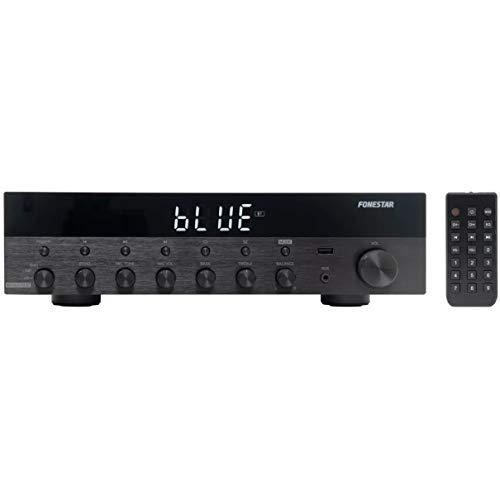 FONESTAR Amplificador Estéreo Bluetooth, USB/MP3, Radio FM, HiFi 60+60 RMS de Potencia As-6060