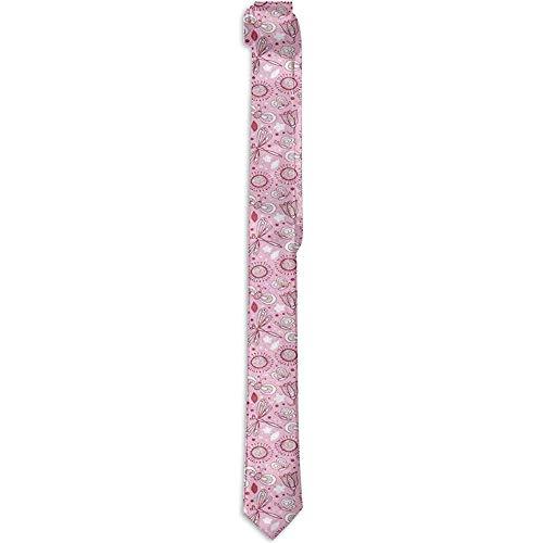 Corbata floral estampada para hombre, estampado floral con mariposas Detalles de estilo romántico dibujado a mano, corbatas para hombres