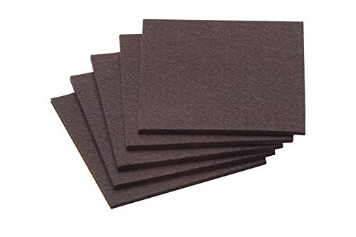 Metafranc Filz-Gleiter 100 x 100 mm - selbstklebend - braun - 5 Stück - Effektiver Schutz Ihrer Möbel & Stühle / Möbelgleiter-Set für empfindliche Böden / Stuhlgleiter / Filz-Zuschnitt / 645336