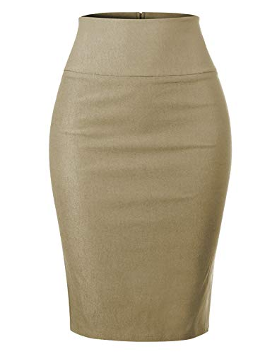 MixMatchy Women's Stretch Office Knee Length Midi Pencil Skirt Khaki M