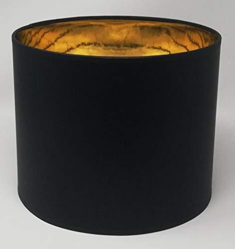 Lampenschirm Zylinder Form Schwarz Stoff Gold Futter Handarbeit Verschiedene Größen Deckenanhänger - Tisch (25 cm Durchmesser 20 cm Höhe)