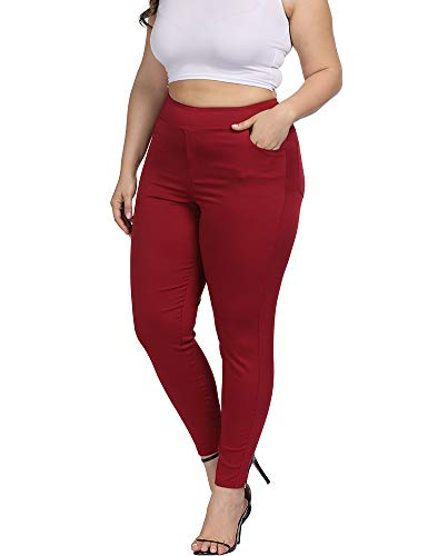 Allegrace Women Plus Size Skinny Pants Stretch Slim Fit Pull-on High Waist Pants with Pockets Red 1X