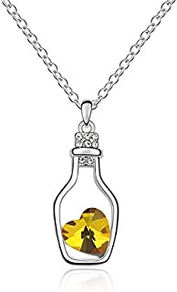 Duqhan - Pendant Necklace in Love Drift Bottle Heart Crystal Style for Ladies, Necklace Pendant for Womens - Gold