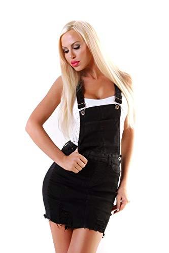 OSAB-Fashion 11063 Damen Jeans Rock Jeansrock Minirock Trägern Latzrock Denim Skirt Fransensaum