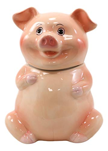 Ebros Animal Farm Bacon Porky Pig Ceramic Cookie Jar Container Figurine 8' Tall Babe Pigs Piggy Swine Collectible Country Rustic Home Kitchen Party Hosting Accessory