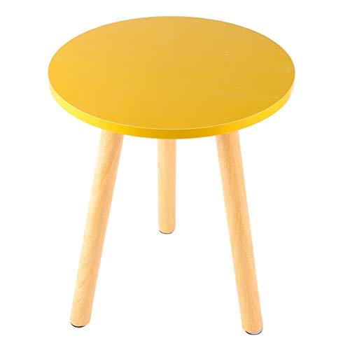YUXIwang Mesa de café de estilo nórdico Mini mesa de café moderna y minimalista mesa de té creativa mesa redonda de madera para el hogar, sala de estar, blanco y amarillo (color: amarillo)