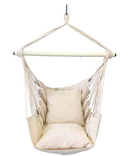 OurWarm Hanging Rope Hammock Chair Swing Seat for Any Indoor or Outdoor Spaces with 2 Cushions and Big Side Pocket for Comfort with Complete Hardware Set for Durability