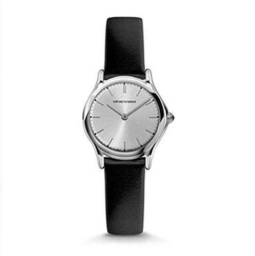 Emporio Armani Swiss Made Reloj de mujer de cuarzo suizo de acero inoxidable y cuero negro (Modelo: ARS7013)