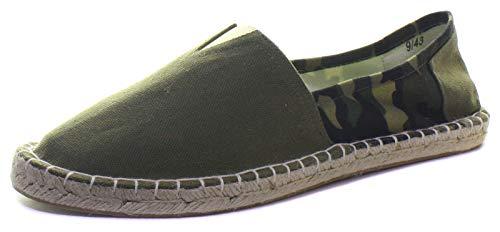 Alpargatas para hombre Camo Flat Slip On Canvas Pumps Alpargatas Summer Trainer, color Verde, talla 43 EU