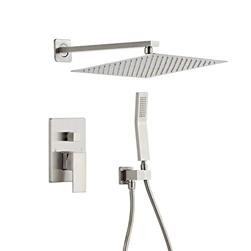 Beati 12 Inch Bathroom Luxury Rain Mixer Shower Combo Set Brushed Nickel Wall Mounted Rainfall Shower Head System Rough-in Valve Body and Trim Included