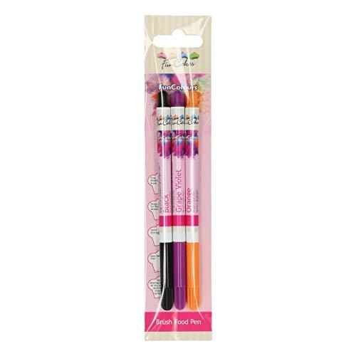 FunCakes Edible FunColours Brush Food Pen - Negro, Púrpura y Naranja - Rotulador con Tinta 100% Comestible, Punta Flexible para líneas Gruesas y Finas, Flujo de Tinta Fácil, Certificado Halal. Set/3