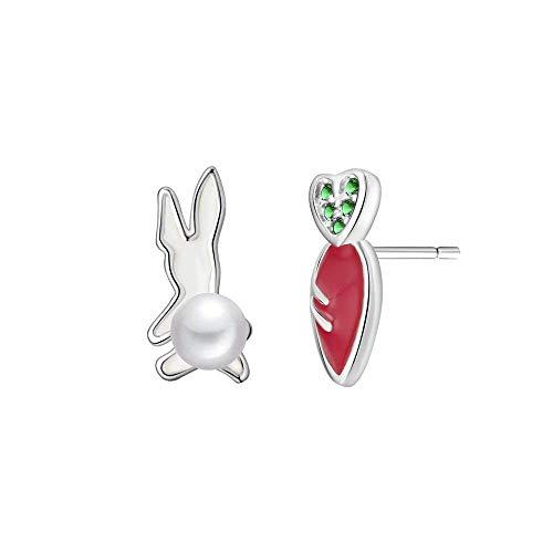 HUYV Pendientes para Mujer,Moda Conejo Perlas Animales Y Pendientes De Rábano Rojo 925 Pendientes De Plata para Navidad Cumpleaños Joyería Regalo Hombres Niñas