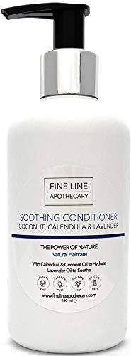 ACONDICIONADOR SUAVIZANTE - COCO, CALENDULA Y LAVANDA - 250 ml de Fine Line Apothecary. Sin Sulfatos, Sin Parabenos, Sin Silicona. pH 5.2-5.7 para Pieles Sensibles. 99,5% Derivado de Plantas.